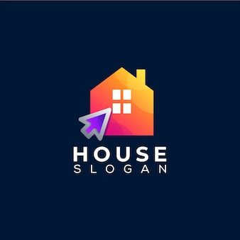 Huis klik verloop logo-ontwerp