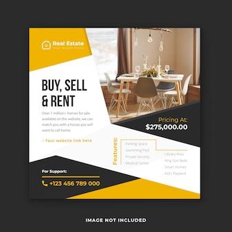 Huis kopen, verkopen en verhuren instagram-postsjabloon of vierkante bannersjabloon