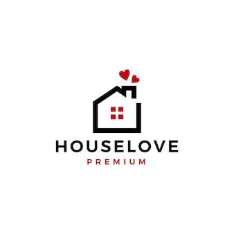 Huis liefde hart zorg huis onroerend goed hypotheek dak schoorsteen logo vector pictogram illustratie