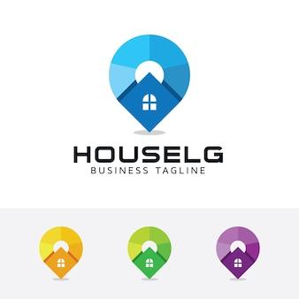 Huis locator vector logo sjabloon