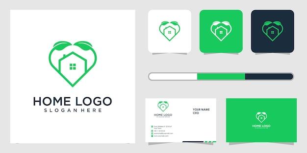 Huis logo ontwerp en sjabloon voor visitekaartjes