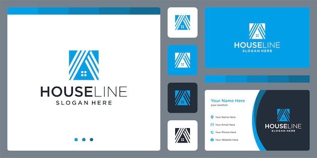 Huis logo ontwerp inspiratie met een lijnmodel visitekaartje ontwerp