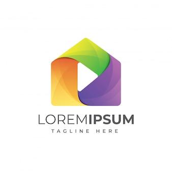 Huis media spelen kleurrijke logo sjabloon