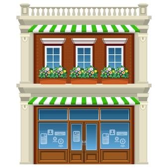 Huis met 2 verdiepingen met bloemen onder ramen. cartoon stijl