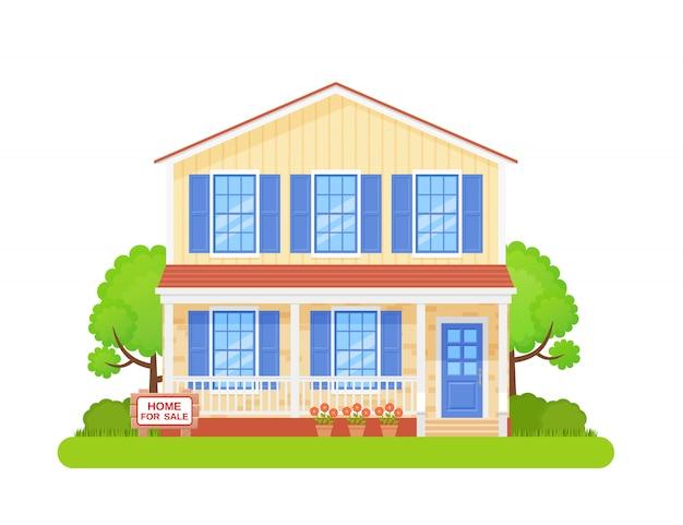 Huis met bord te koop. illustratie in flat.