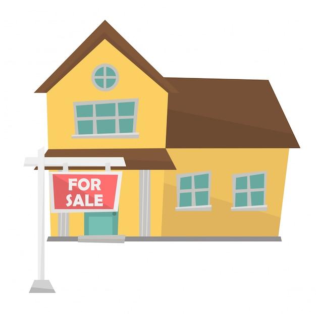 Huis met bordje voor verkoop vectorillustratie.