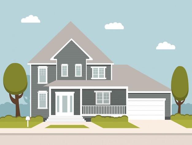 Huis met de garage en bomen staan aan de weg. huis in de voorsteden. houten chalet.