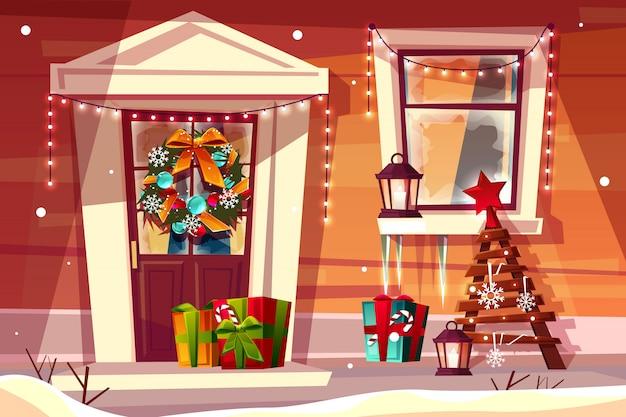 Huis met de illustratie van kerstmisdecoratie van houten huisingang met kerstmislichten