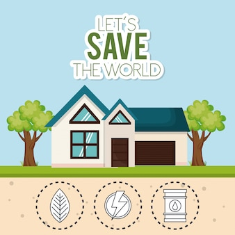 Huis met de pictogrammen van de wereld redden