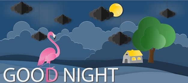 Huis met flamingo in nachttijd