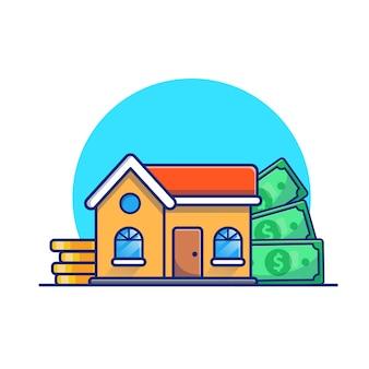 Huis met gouden munten geld illustratie. onroerend goed investeringsconcept. gebouw wit geïsoleerd