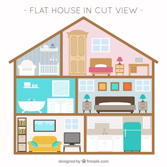 Huis met interieur uitzicht en meubilair in plat design