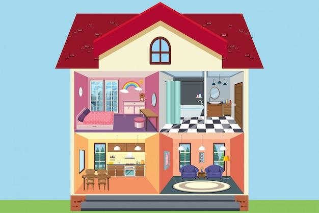 Huis met kamers volledig ingericht