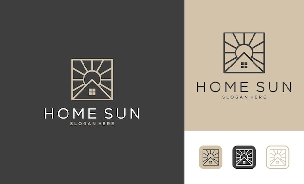 Huis met logo-ontwerp in de stijl van de zonlijn