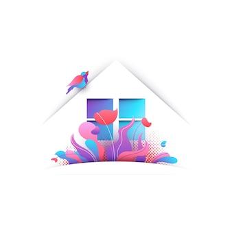 Huis met moderne vogel en bloemen