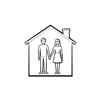 Huis met paar man en vrouw hand in hand getrokken schets doodle pictogram. familiehuis, relatie, concept