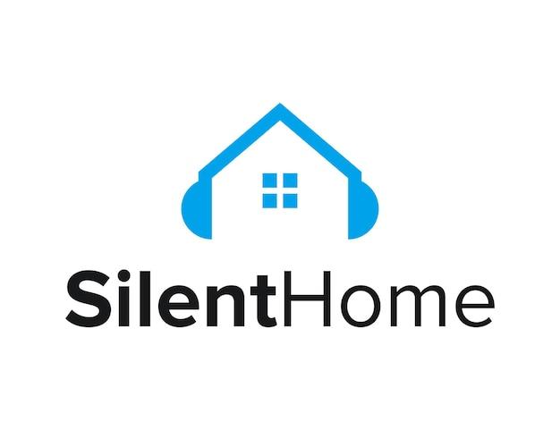 Huis met raam en koptelefoon eenvoudig strak modern logo-ontwerp vector