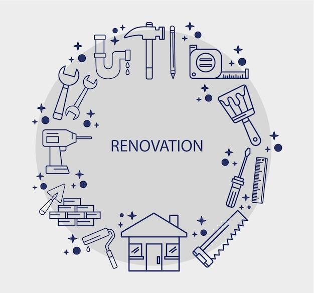 Huis met renovatie icoon collectie