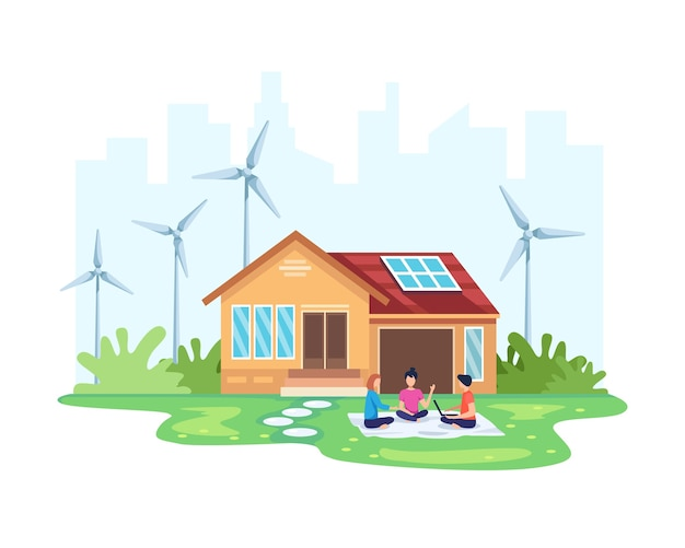 Huis met schone energieconcept. eco-vriendelijk huis met zonne- en windenergie. alternatieve energieconcept. mensen voor het huis met milieuvriendelijke hernieuwbare energie. in vlakke stijl