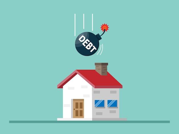 Huis met schuldbom, woningkrediet concept illustratie plat