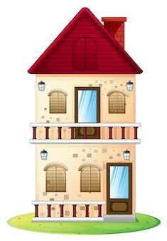 Huis met twee verdiepingen en balkon