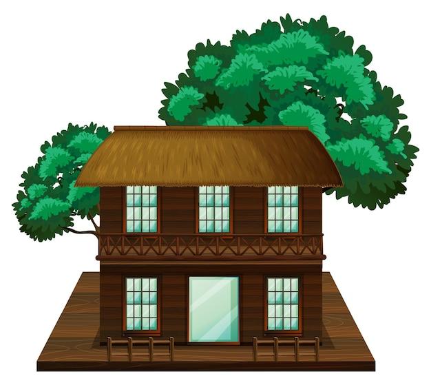 Huis met twee verdiepingen gemaakt van hout