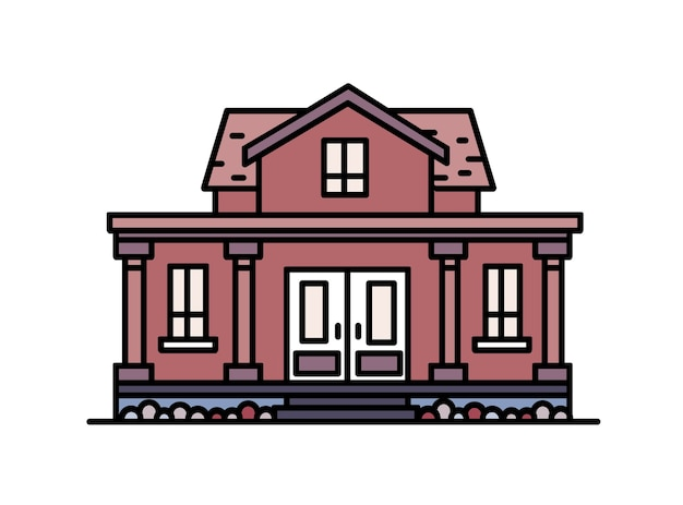Huis met twee verdiepingen in een buitenwijk met veranda en kolommen, gebouwd in een elegante klassieke bouwstijl. woongebouw geïsoleerd.