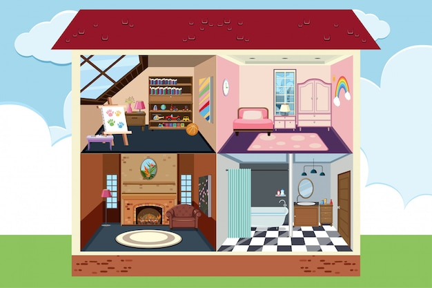 Huis met vier kamers volledig ingericht