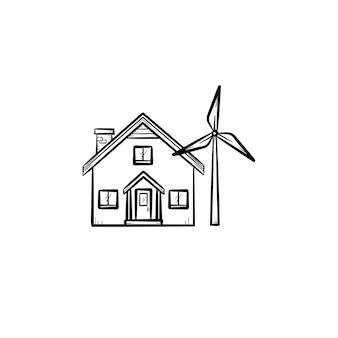 Huis met windgenerator hand getrokken doodle pictogram. hernieuwbaar energieconcept. gebouw met windturbine schets vectorillustratie voor print, web, mobiel en infographics geïsoleerd op een witte achtergrond.