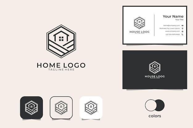 Huis met zeshoekige lijntekeningen logo-ontwerp en visitekaartje
