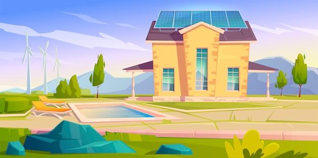 Huis met zonnepanelen en windmolens. eco huis