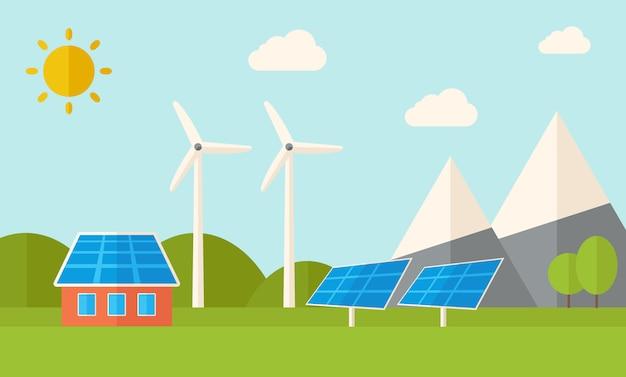 Huis met zonnepanelen en windmolens.