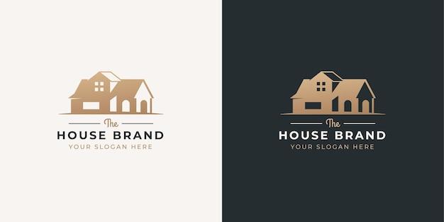 Huis negatieve ruimte stijl logo-ontwerp