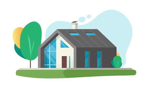 Huis of huis plat modern eigentijds en luxe gebouw cartoon illustratie