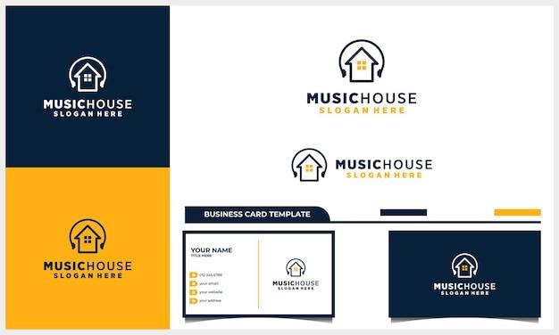 Huis- of huislogo-ontwerp met oortelefoonmuziek-logo-ontwerp met sjabloon voor visitekaartjes