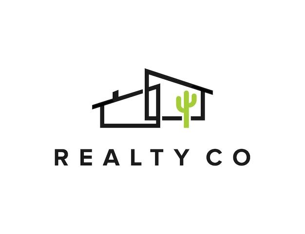 Huis onroerend goed en woestijn eenvoudig strak creatief geometrisch modern logo-ontwerp