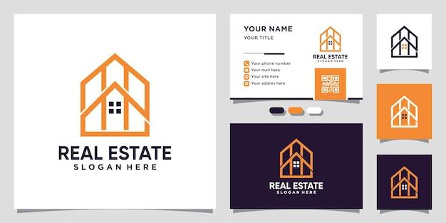 Huis onroerend goed logo met lijn kunststijl en visitekaartje ontwerp premium vector