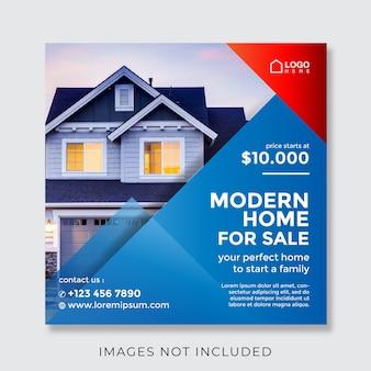 Huis onroerend goed vierkante banner voor sociale media