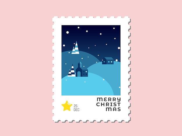 Huis op de heuvel in blauwe toon - kerstzegel plat ontwerp voor wenskaart en multifunctioneel -