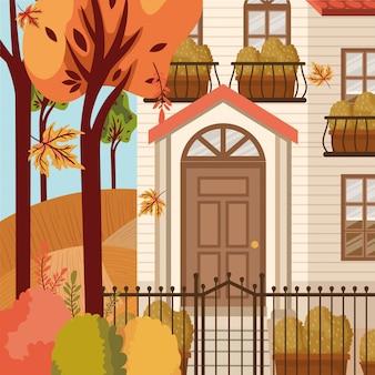 Huis op herfst achtergrond
