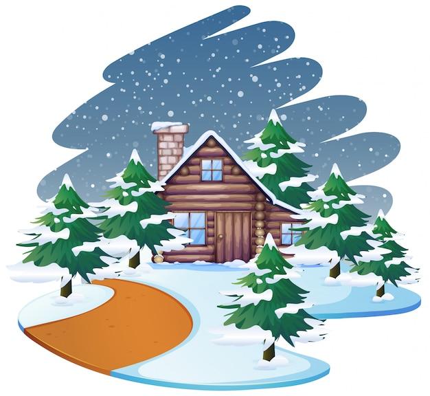 Huis op sneeuwscène of achtergrond