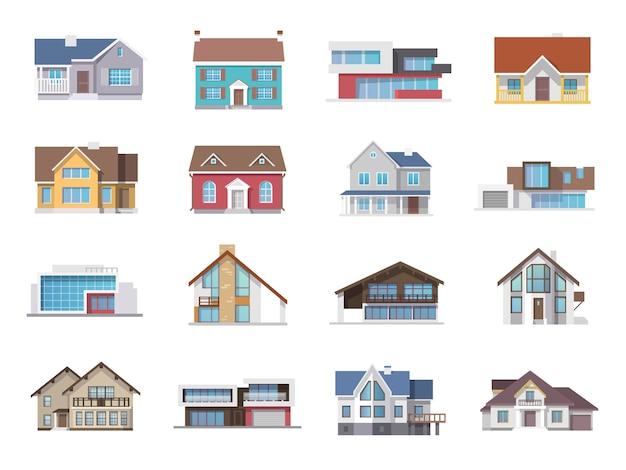 Huis pictogrammen plat
