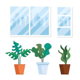 Huis plaats interieur scène met potplanten natuur decoratie