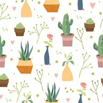 Huis planten naadloos patroon