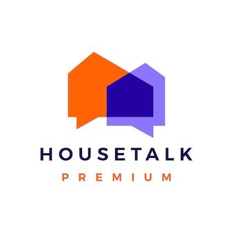 Huis praten chat-zeepbel logo vector pictogram illustratie
