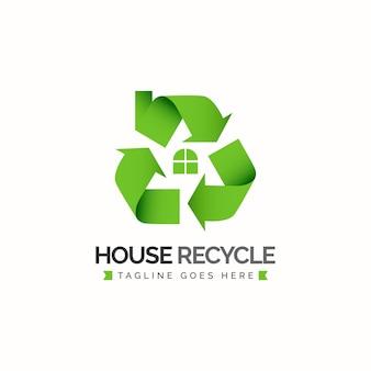 Huis recycle logo ontwerpconcept groene pijl cyclus