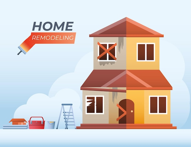 Huis remodellering voor en na met tools ladder toolbox en emmer vectorillustratie