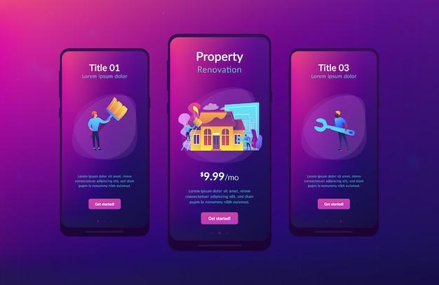 Huis renovatie app interface sjabloon.
