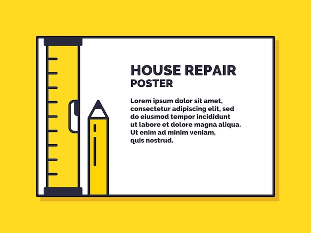 Huis reparatie. diensten voor het ontwerpen van posters voor het onderhoud van gebouwen. vector illustratie.