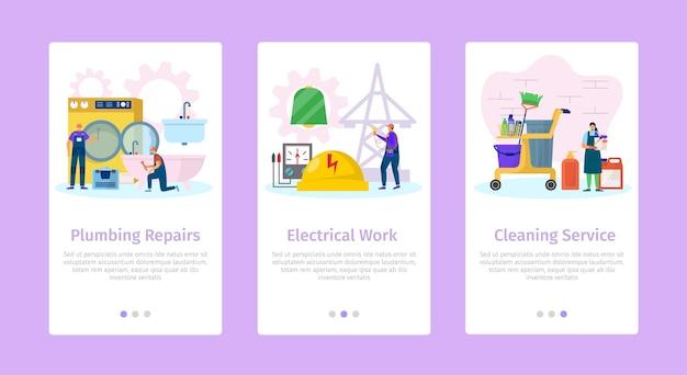 Huis reparatie sanitair elektrisch werk en schoonmaak service mobiele websjabloon set Premium Vector